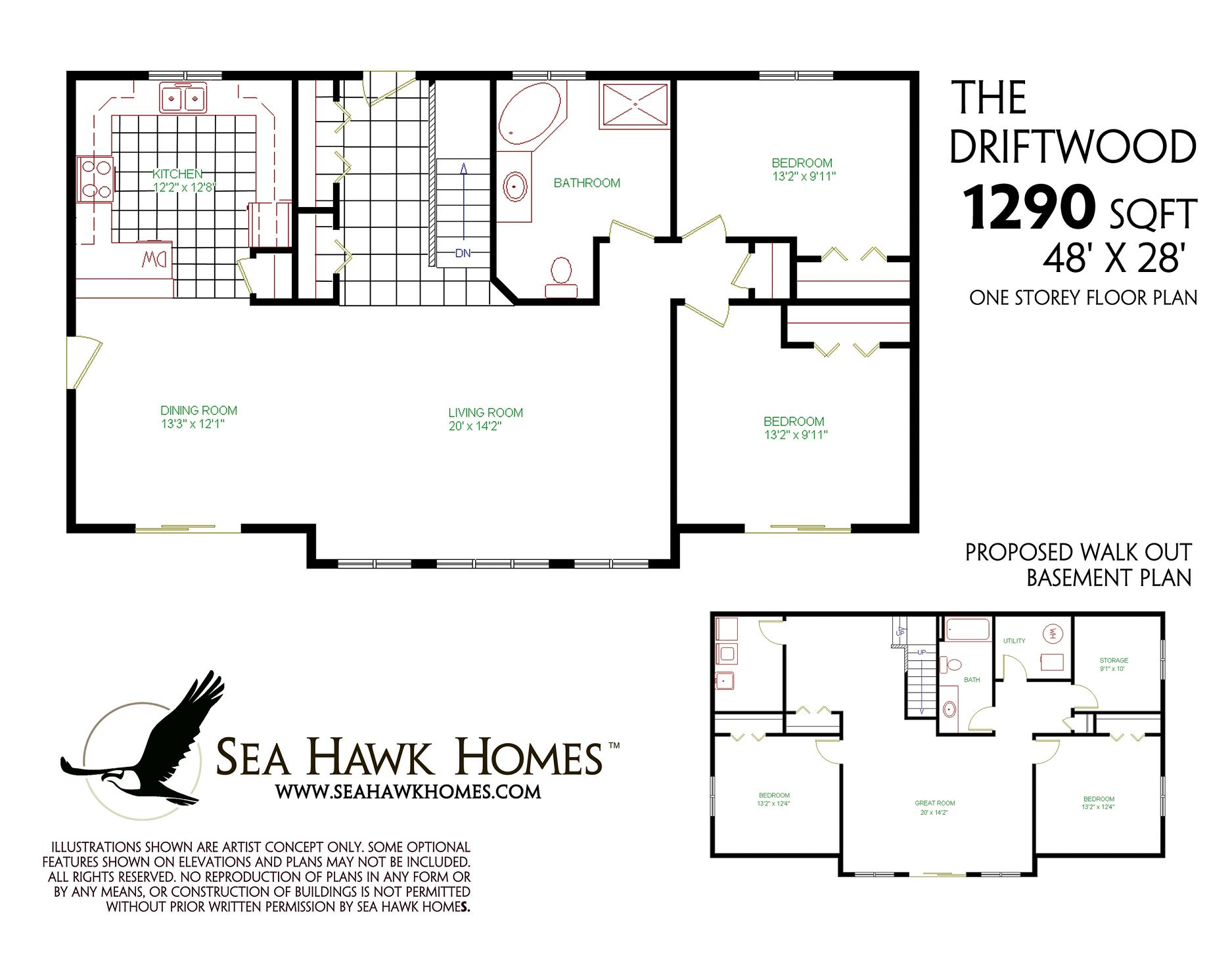 Ranch Floor Plans With Walkout Basement Driftwood Sea Hawk Homes