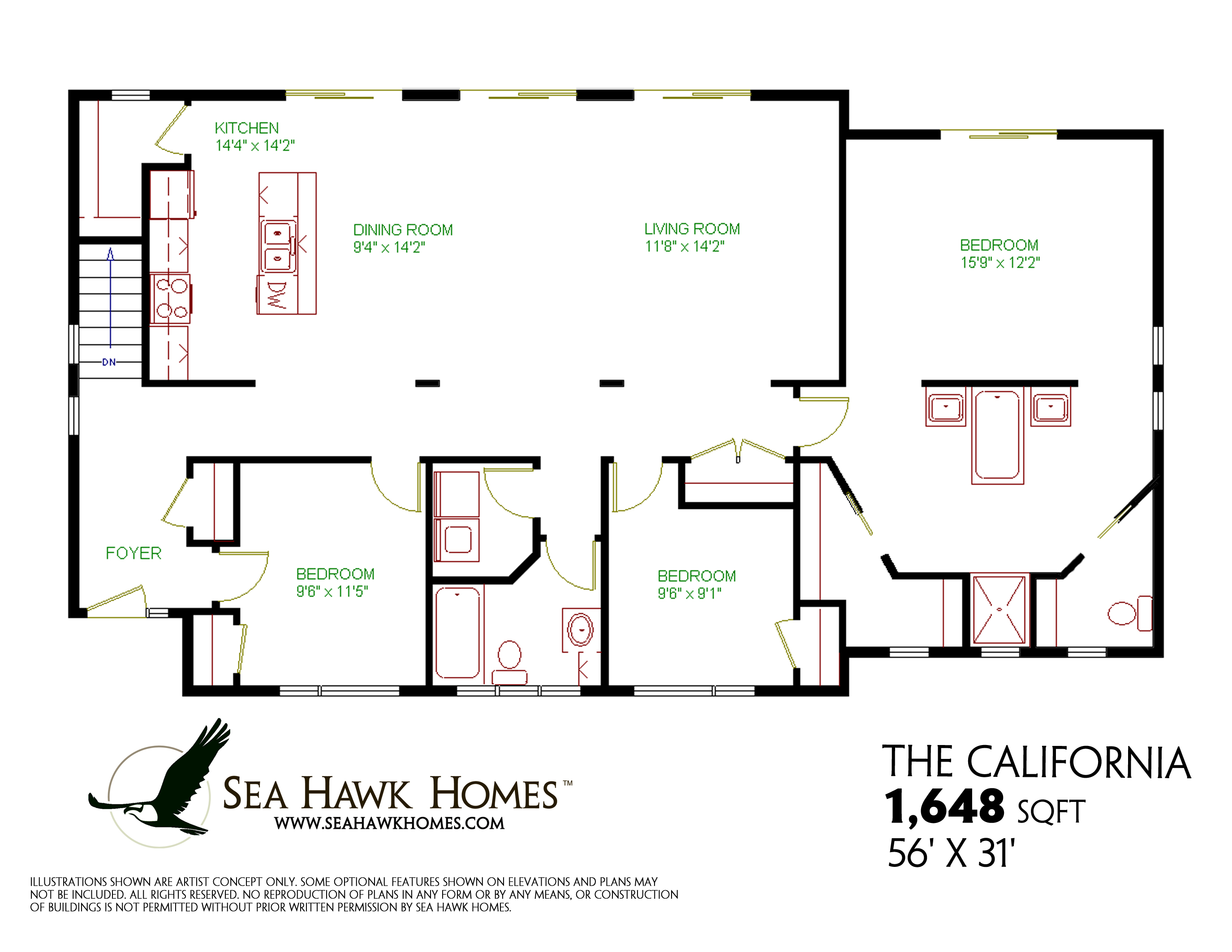California sea hawk homes for Home plans com